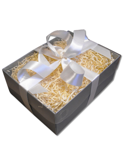Gift Wrap Gift Box Clear Lid Silver