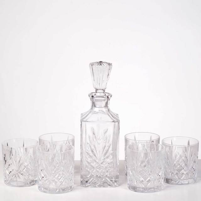 Argyle Fine Cut Crystal Whisky Decanter Set with Robert Graham Hoebeg Single Malt Scotch Whisky