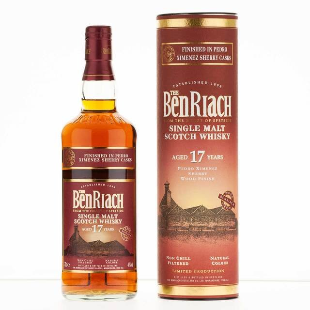 Benriach 17 Year Old Pedro Ximenez Sherry Wood Finish Single Malt Scotch Whisky  70cl, 46% Vol