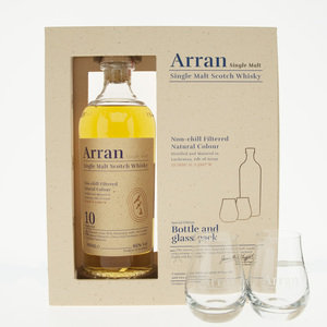 Arran - 10 Year Old Single Malt Giftset with Glasses (70cl, 40% ABV)