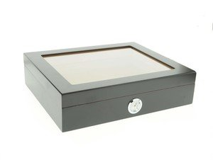 Black Ash Finish Glass Top Humidor
