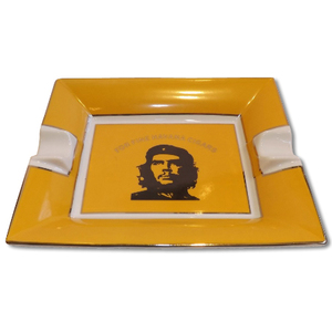 Che Motive Ceramic Cigar Ashtray - Two Cigars Rest - Yellow
