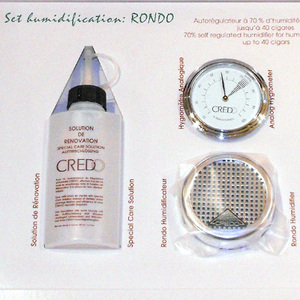 Credo Rondo Humidification Set - Chrome - up to 40 Cigar Capacit