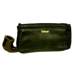Black Leather Pipe Combination Pouch