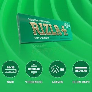 Rizla Green Regular Size Rolling Papers - 1 pack