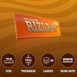 Rizla Orange (Liquorice) Regular Size Rolling Papers - 1 pack