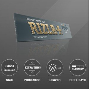 Rizla Silver King Size Slim Rolling Papers - 1 pack