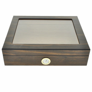 Walnut Finish Glass Top Humidor