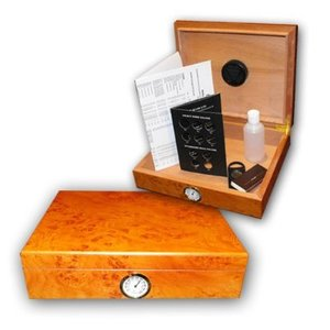 Classic - Light Burl - Desk Top Humidor - 20 Cigars Capacity
