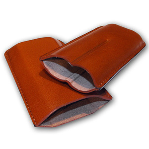 Plain Leather Cigar Case - Two Robusto (TAN)