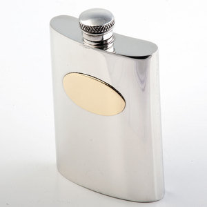 Plain Brass Plate Hip Flask (SF103)