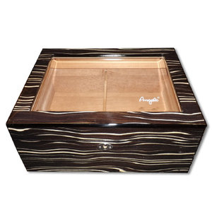 Angelo Glass Top Stripe Humidor - 50 cigars capacity