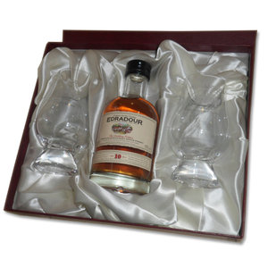 Edradour 10 Year Old Single Malt Scotch Whisky - 20cl Gift Set with Two Glasses